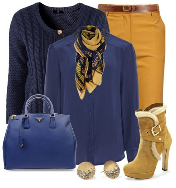 The trendy outfit idea, blue sweater with round neck and blouse