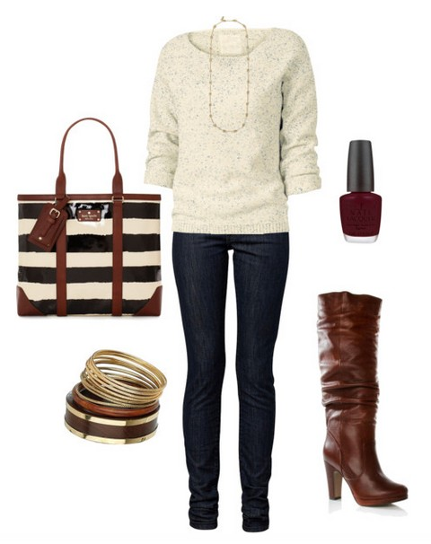 The trendy outfit idea, striped bag, white loose sweater, jeans and brown knee-length boots