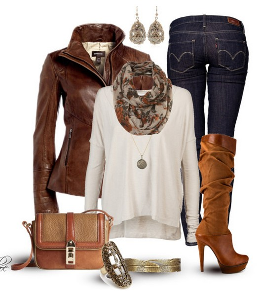 The Trendy Outfit Idea, brown leather jacket, white knitted top, jeans and knee-length boots