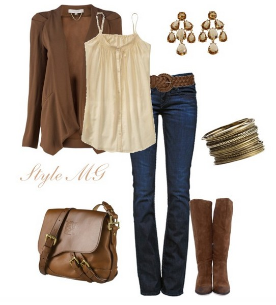 The trendy outfit idea, light brown cardigan and knee-length boots