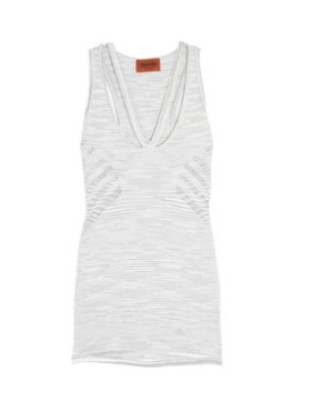 Missoni Pointelle knitted racer back tank, gray and white