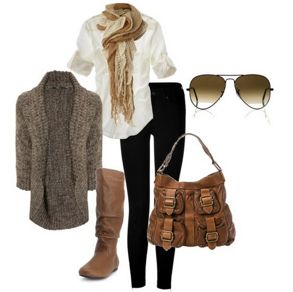 Warm and cozy outfit combinations for winter, light gray cardigan, tubes and knee-length boots