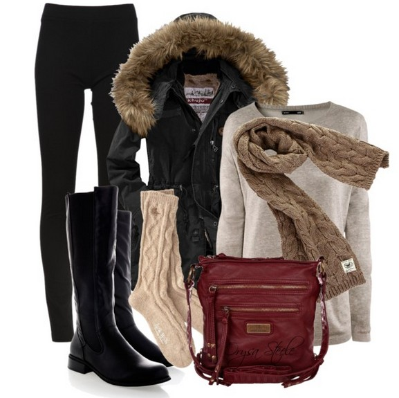 Warm and cozy outfit combinations for winter, brown sweaters, black tubes and black knee-length boots