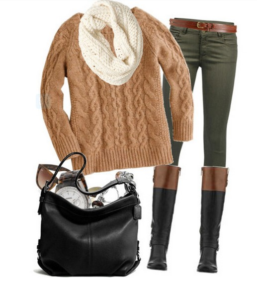 Warm and cozy outfit combinations for winter, brown sweaters, pants and knee-length boots
