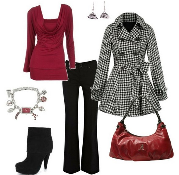 Warm and cozy outfit combinations for winter, checkered peacoat, jeans and black ankle boots