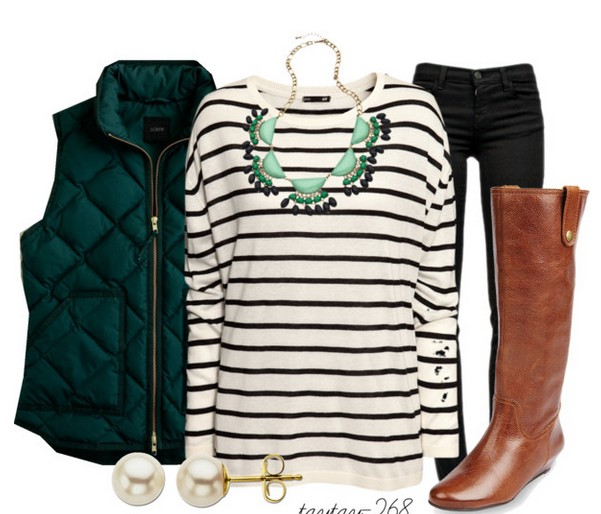 Warm and cozy outfit combinations for winter, striped sweaters, red tubes and knee-length boots