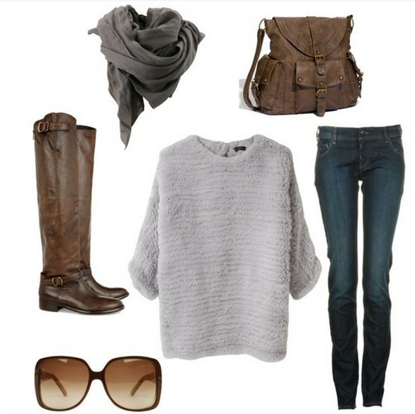 Warm and cozy outfit combinations for winter, loose pullovers, jeans and knee-length boots