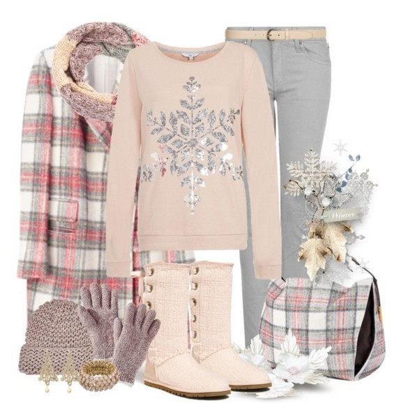 Warm and cozy outfit combinations for winter, pink sweaters, jeans and knee-length boots