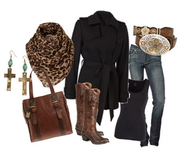 Warm and cozy outfit combinations for winter, black peacoat, jeans and knee-length boots