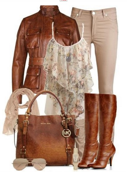 Daily outfit look, top with floral print, brown leather jacket and brown knee-length boots