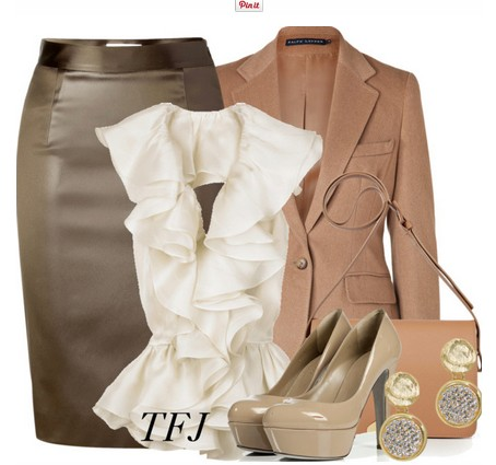 Daily outfit look, light brown suit, gray pencil dress and light brown pumps
