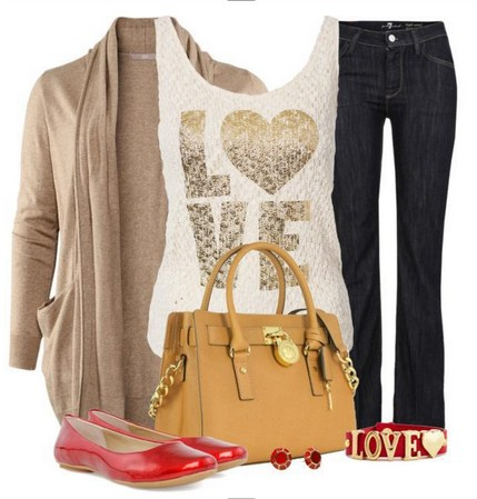 Daily outfit look, light brown cardigan, jeans and red flats
