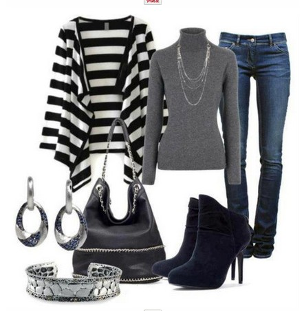 Daily outfit look, striped cardigan, gray turtleneck and ankle boots