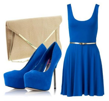 Daily outfit look, blue cocktail dress and pumps with pink hard case