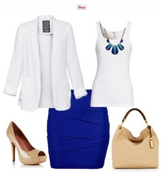 White and royal blue outfit look, white suit, royal blue pencil dress and bare pumps