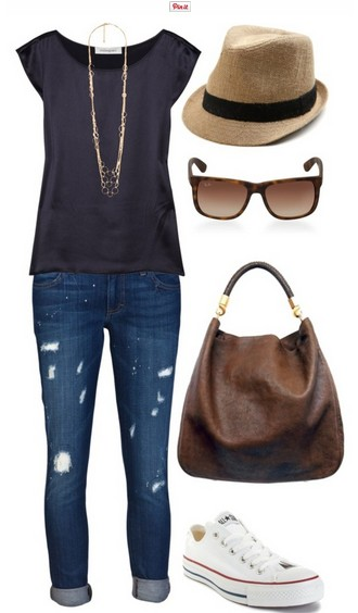 The casual outfit look, the gray top, jeans and sneakers