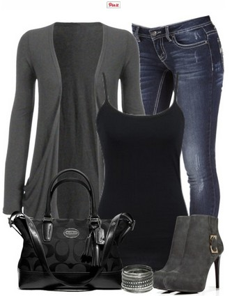 Black and gray outfit look, gray cardigan, jeans and gray ankle boots