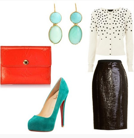 A combination of turq and coral for a New Year's cocktail dress with black pumps