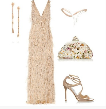 A wonderful combination for the New Year look, long evening dress with pumps