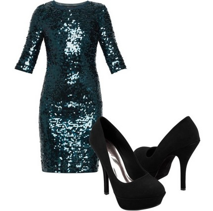 A shinny combination for the New Year look, green coset dress with sequins and black pumps