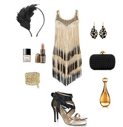 A nude and black combination for the New Year look, cocktail dress with black pumps