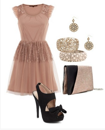 A nude and black combination for a New Year look, a sequin cocktail dress with black pumps