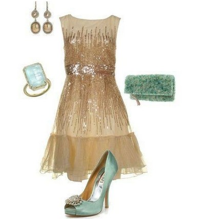 A shinny combination for the New Year look, pink sequin coset dress with blue pumps