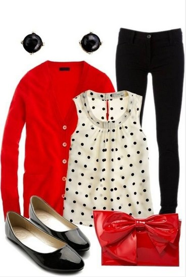 Red outfit, cardigan, blouse with polka dot pattern and tubes