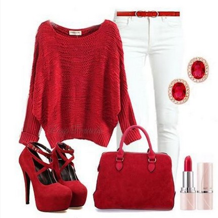 Red outfit, red sweater, bag and pumps