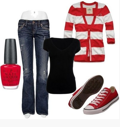 Casual red outfit, red and white striped cardigan, jeans and sneakers