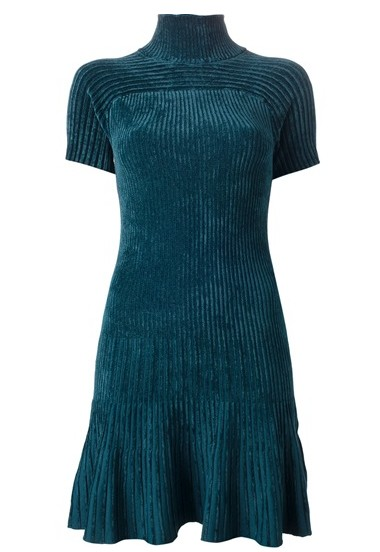 PINKO ribbed high neck dress, short sleeves, pleated hem