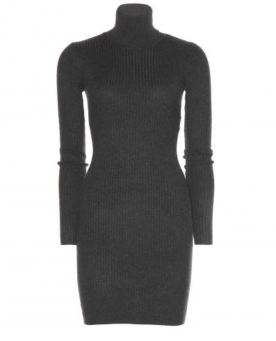 Ralph Lauren Rib Knit Turtleneck Dress, Rib Knit, Gray