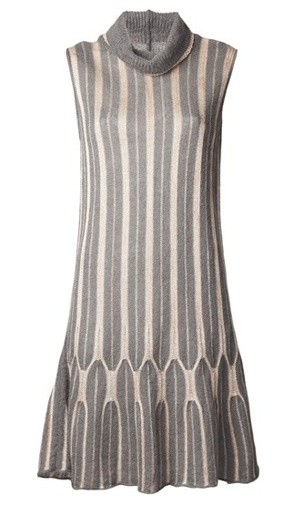 M MISSONI VINTAGE turtleneck dress, gray and pink