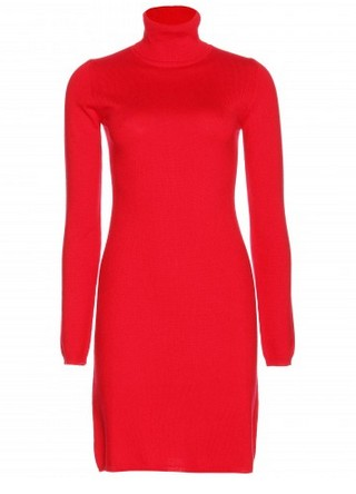 Jardin des Orangers cashmere turtleneck dress. red