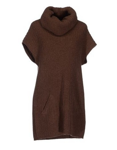 RALPH LAUREN Short dress, turtleneck, cable stitch, brown