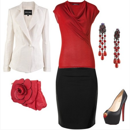 Formal outfit, black pencil skirt and red knitted top