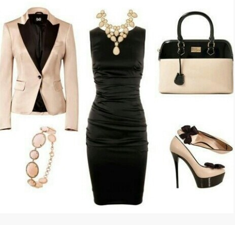 Formal outfit, black and ivory