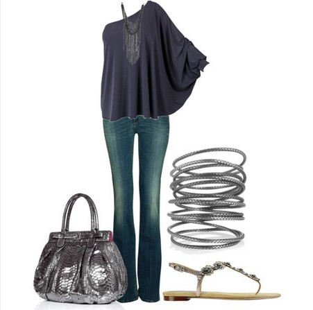 Long sleeve top outfit in gray tulle with one shoulder