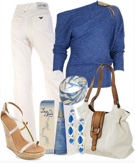 Long-sleeved blue one-shoulder top jersey outfit