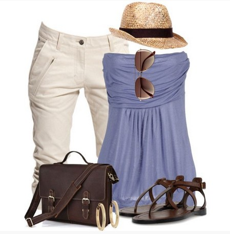Cinched blue one-shoulder top outfit for a beach look
