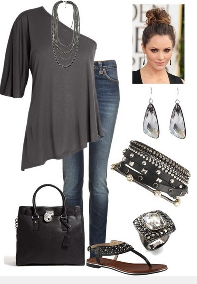 Gray one-shoulder top outfit for the everyday look