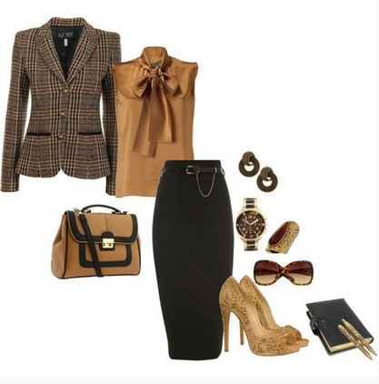 black-brown outfit, the black pencil skirt with sequin pumps