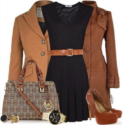 Brown outfits, the little black evening dress