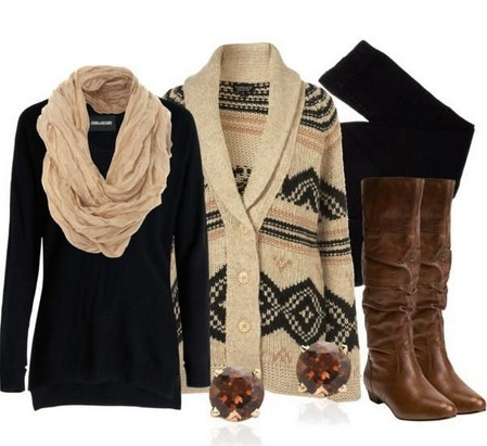 Black-brown outfit, Aztec cardigan with knee-length boots