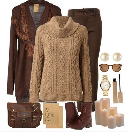 Beige and Brown Outfit, the classic cable knit sweater