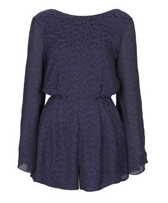 TOPSHOP Satin Animal Playsuit, Navy Blue
