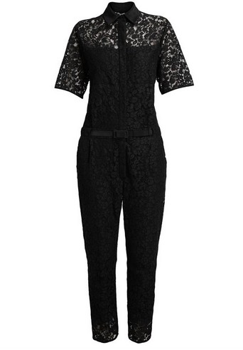 ERDEM Vala Cotton Lace Jumpsuit, black