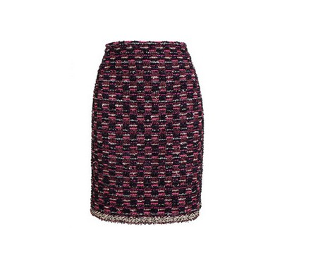 LANVIN Bouclé Tweed pencil skirt, multi-purple