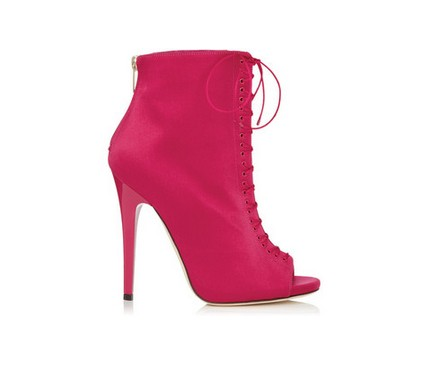 Jimmy Choo Voyage Raspberry Satin Peep Toe Booties