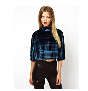 ASOS top with high neck in Velvet Check